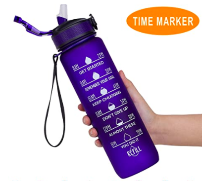 motivational time-marked water bottle for weight loss